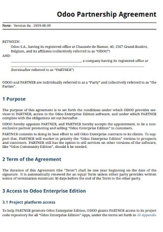 Sample Odoo Brand Partnership Agreement