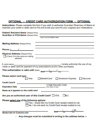 Sample Optional Credit Card Authorization Form
