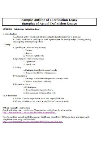 Sample Outline of a Definition Essay