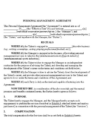 Sample Personal Music Management Agreement