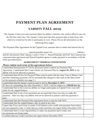 Sample Program Payment Plan Agreement Template