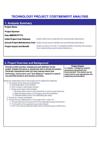 Sample Project Cost Benfit Analysis Template