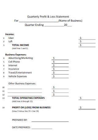 Sample Quarterly Profit and Loss Statement