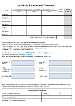 Sample Recruitment Timesheet