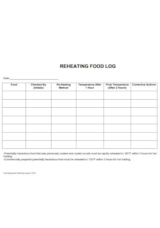 Sample Reheating Food Log Template
