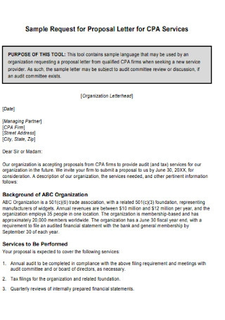 Sample Request for Proposal Letter for Services Template
