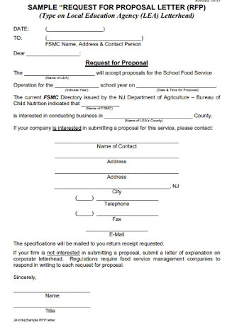Sample Request for Proposal Letter