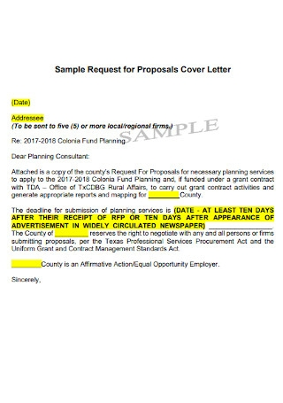 Sample Request for Proposals Cover Letter