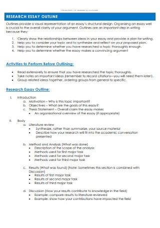 Sample Research Essay outline Template