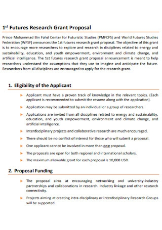 Sample Research Grant Proposal