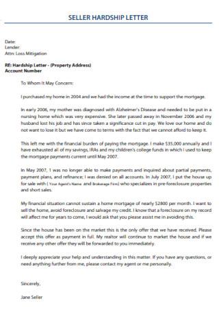 Sample Seller Hardship Letter