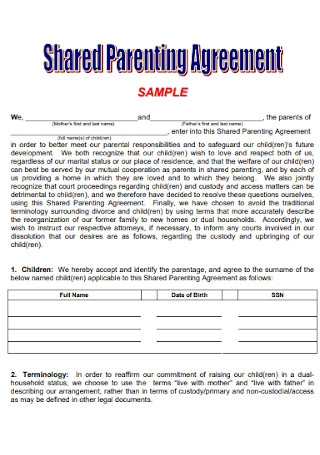 Sample Shared Co Parenting Agreement