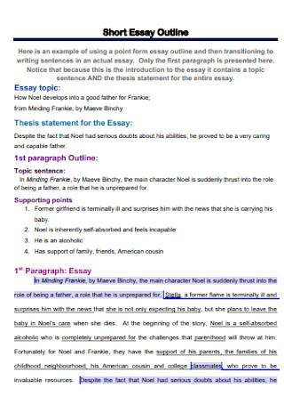 Sample Short Essay Outline Template