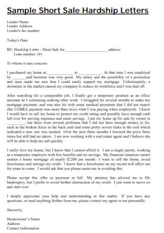 Sample Short Sale Hardship Letters