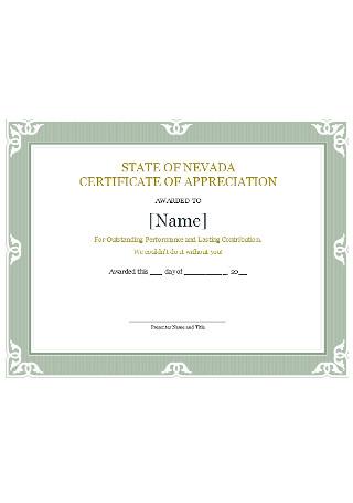 Sample State Certificate of Appreciation Template