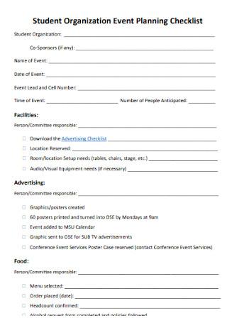 Sample Student Organization Event Planning Checklist