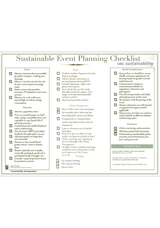 Sample Sustainable Event Planning Checklist