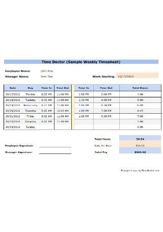 Sample Weekly Timesheet