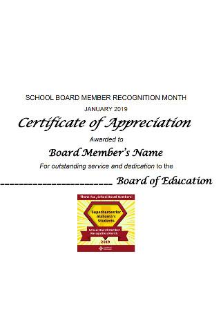 School Board Certificate of Appreciation