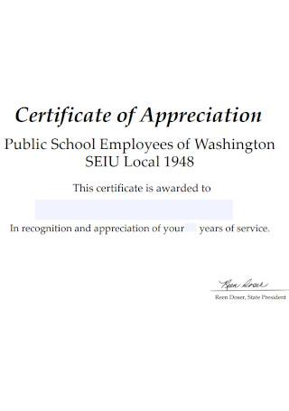School Employees Certificate of Appreciation