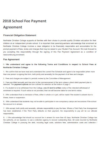 School Fee Payment Agreement Template
