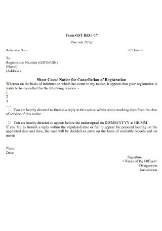 Show Cause Notice for Cancellation of Registration