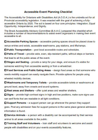 Simple Accessible Event Planning Checklist