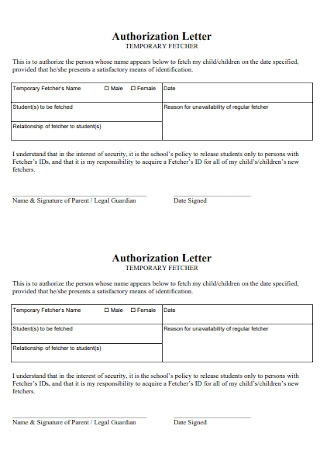 Simple Child Authorization Letter Template