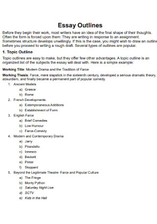 Simple Essay Outlines Template