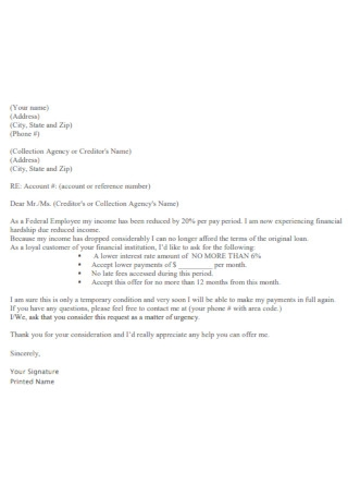Simple Hardship Letter Template