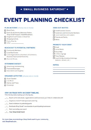 Small Event Business Planning Checklist