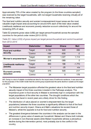 Social Cost Benefit Analysis Template