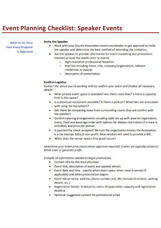 Speaker Event Planning Checklist