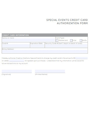 Special Event Credit Card Authorization Form