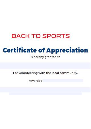 Sports Certificate of Appreciation