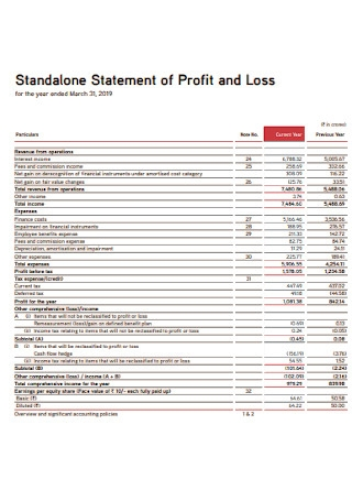 Standalone Statement of Profit and Loss