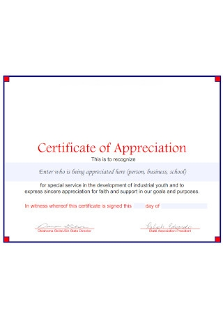 Standard Certificate of Appreciation