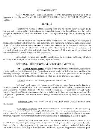 Standard Commercial Loan Agreement