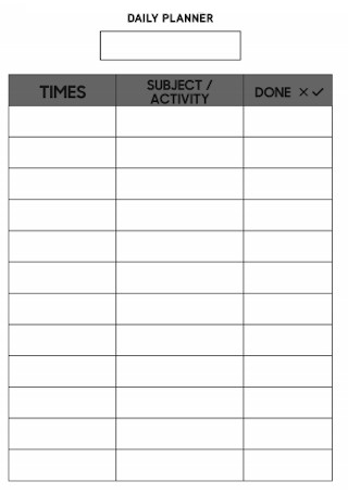 Standard Daily Planner Template