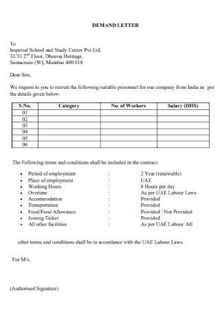Standard Final Demand Letter