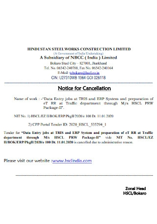 Standard Notice for Cancellation Template
