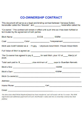 Standard Ownership Contract Template