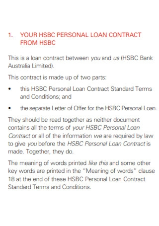 Standard Personal Loan Contract Template