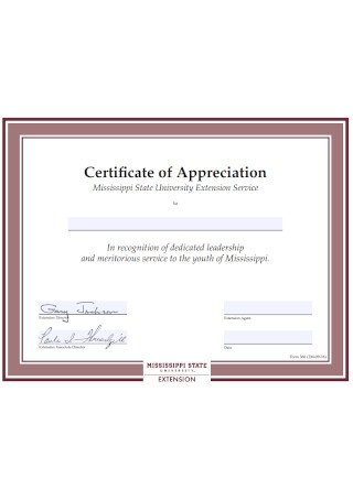 State University Certificate of Appreciation