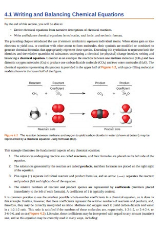 Stoichiometry of Chemical Reactions Equations to Balance