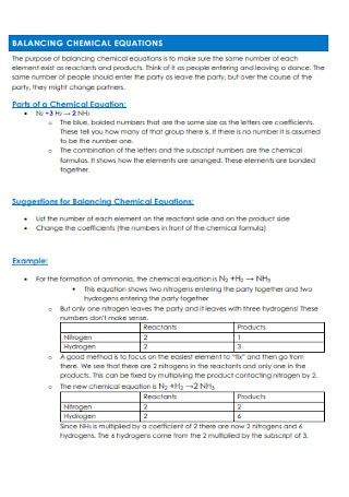 Student Chemical Equations to Balance Example