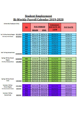Student Employment Bi Weekly Payroll