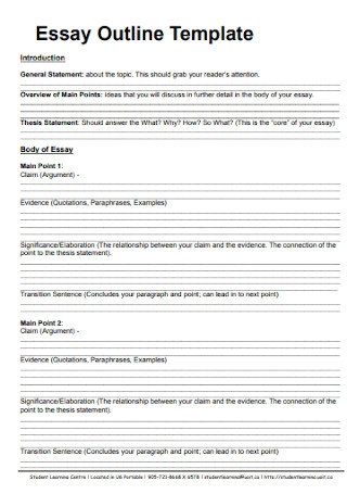 Student Essay Outline Template