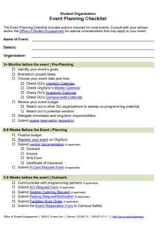 Student Organization Event Planning Checklist
