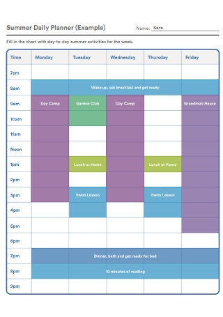 Summer Daily Planner Template